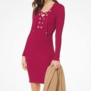 Michael Kore Ribbed Lace up Dress